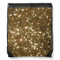 Glistening Gold Sequin Drawstring Backpack