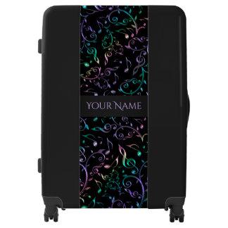 Glistening Music Notes Black Luggage
