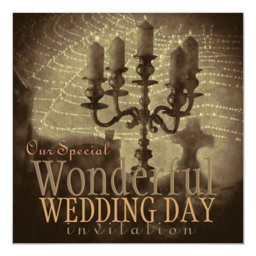 Glistening Web Vintage Romance Wedding Invite
