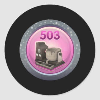 Glitch: achievement metalhead classic round sticker