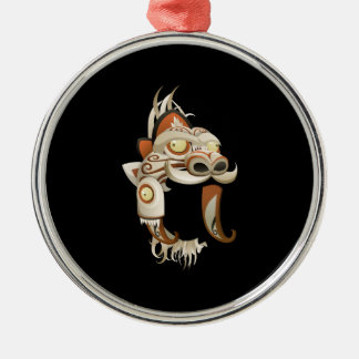 Glitch Alph Mask Round Metal Christmas Ornament