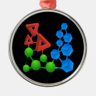 Glitch: compounds alphose round metal christmas ornament