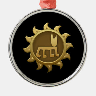 Glitch Emblem Humbaba Round Metal Christmas Ornament