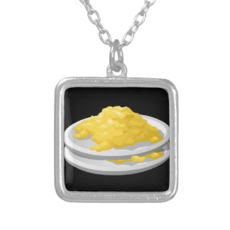 Glitch Food eggy scramble Silver Plated Necklace