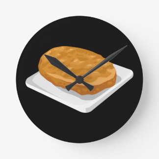 Glitch Food potato patty Round Clock