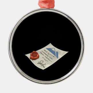 Glitch: mountaineering permit metal ornament