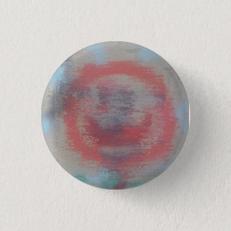 glitch red art abstract smiley face pinback button