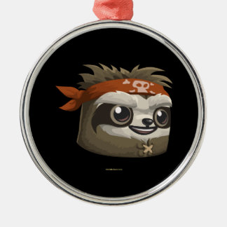 Glitch Sloth Mask Round Metal Christmas Ornament