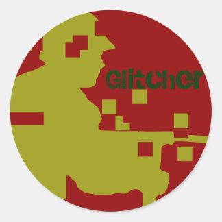 GLITCHER-RED Decal Classic Round Sticker