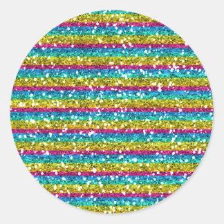 Gliter multi colored stripes classic round sticker