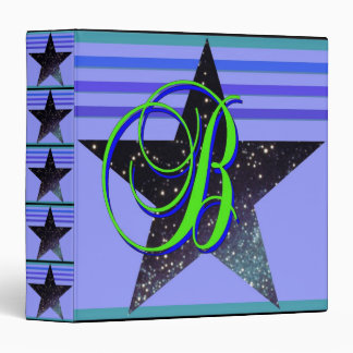 Glitter 5 Star B Monogram Binder