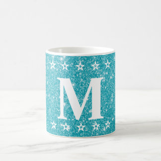 Glitter 5 Star Teal Blue Custom Monogram Beverage Coffee Mug