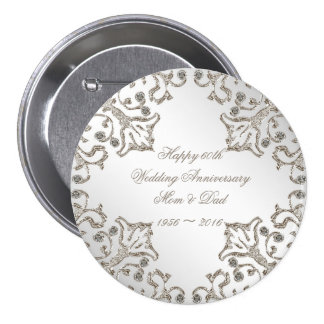 Glitter 60th Diamond Wedding Anniversary Button