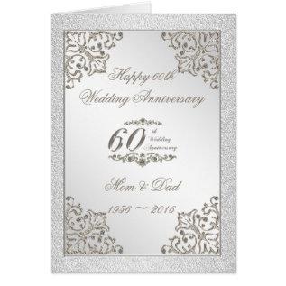 Glitter 60th Diamond Wedding Anniversary Card at Zazzle