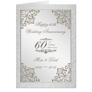 Glitter 60th Diamond Wedding Anniversary Card