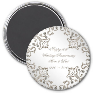 Glitter 60th Diamond Wedding Anniversary Magnet