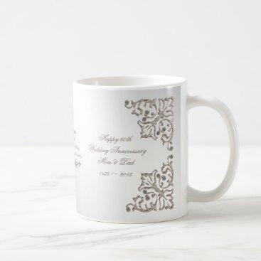 Coffee Themed Glitter 60th Diamond Wedding Anniversary Mug