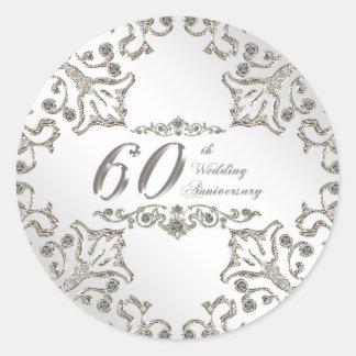 Glitter 60th Diamond Wedding Anniversary Sticker