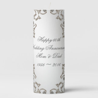 Glitter 60th Wedding Anniversary Pillar Candle
