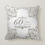 "Glitter 60th Wedding Anniversary Throw Pillow<br><div class=""desc"">A Digitalbcon Images Design featuring a platinum silver color theme with a variety of custom images, shapes, patterns, styles and fonts in this one-of-a-kind &quot;Diamond Wedding Anniversary&quot; Throw Pillow. This elegant and attractive design adds comfort and style to any home decor and so makes the perfect gift for the Anniversary...</div>"