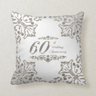 Glitter 60th Wedding Anniversary Throw Pillow