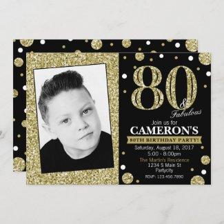 Glitter Adult Milestone Birthday Photo Invitation