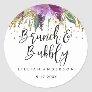 Glitter Amethyst Brunch and Bubbly Bridal Shower Classic Round Sticker