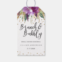 Glitter Amethyst Brunch and Bubbly Bridal Shower Gift Tags