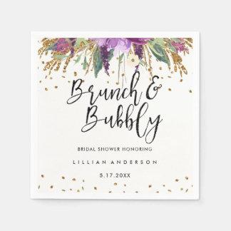 Glitter Amethyst Brunch and Bubbly Bridal Shower Paper Napkin