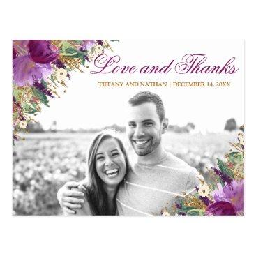 Wedding Themed Glitter Amethyst Purple Photo Thank You Postcard