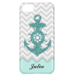 Glitter Anchor Chevron Cover For iPhone 5C