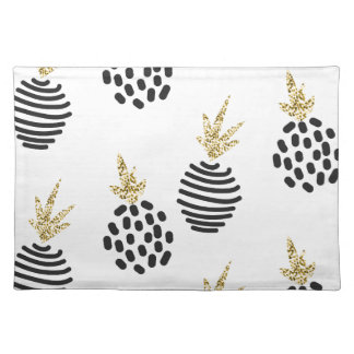 Glitter and black abstract pineapples. cloth placemat