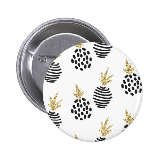 Glitter and black abstract pineapples. pinback button