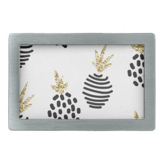 Glitter and black abstract pineapples. rectangular belt buckle