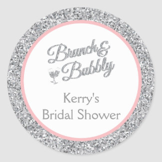 Glitter and Pink Bridal Shower Stickers