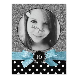 Glitter and Polkadots Photo Sweet 16 Card