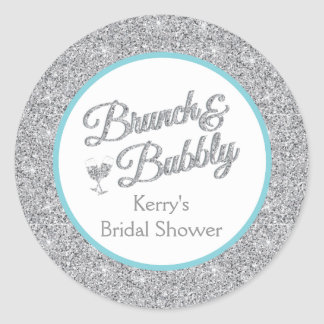 Glitter and Turquoise Bridal Shower Stickers