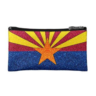 Glitter Arizona flag small cosmetic bag
