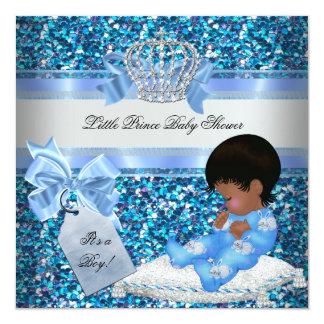 "Glitter Baby Shower Boy Blue Little Prince Bunnies 5.25"" Square Invitation Card"
