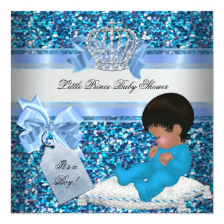 Glitter Baby Shower Boy Blue Little Prince Crown 2 Card