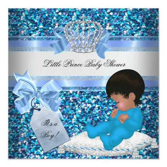 Glitter Baby Shower Boy Blue Little Prince Crown 2 Card