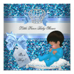 Glitter Baby Shower Boy Blue Little Prince Crown 2 5.25x5.25 Square Paper Invitation Card