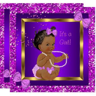 Glitter Baby Shower Girl Purple Pink Ethnic Card
