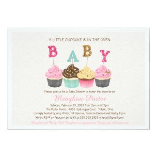 """Glitter Baby Shower Invitation - Cupcakes, Glitz 5"""" X 7"""" Invitation Card"""