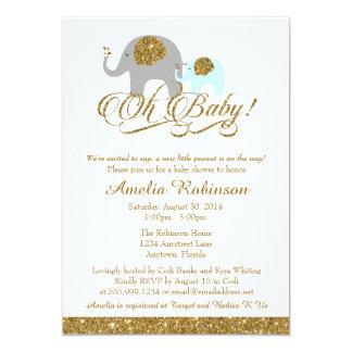 Glitter Baby Shower Invitation, Elephant Peanut Card