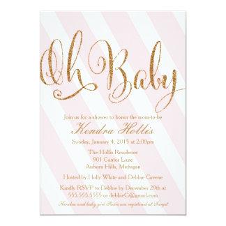 Glitter Baby Shower Invitation - Pink Stripe
