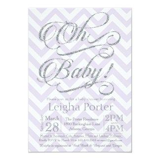 Glitter Baby Shower Invitation Silver Purple lilac