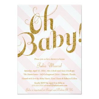 Glitter Baby Shower Invitation with Chevron
