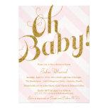 Glitter Baby Shower Invitation with Pink Chevron