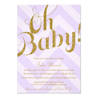 Glitter Baby Shower Invitation with Purple Chevron